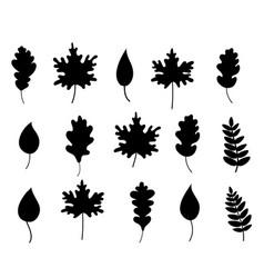 Silhouette black fallen leaves vector