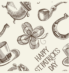 sketch saint patricks day seamless pattern vector image