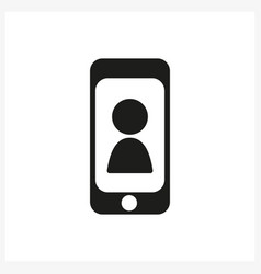 smartphone icon in simple black design vector image