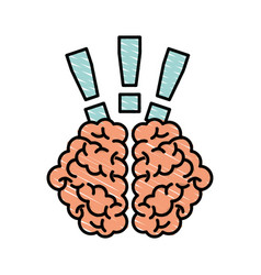 Storm brain with exclamation mark isolated icon vector