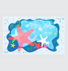 summer template starfish on the beach background vector image