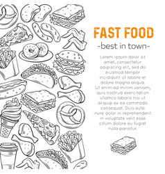 template with fast food vector image