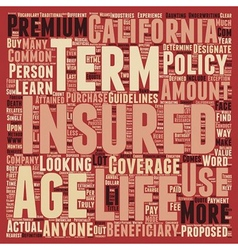 Term Life Insurance For Californians text vector