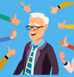 thumbs up businessman professional office vector image