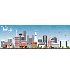 Tokyo Skyline with Gray Buildings and Blue Sky vector