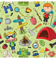Tourist children colorful pattern vector