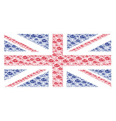 Uk flag pattern of mushroom items vector