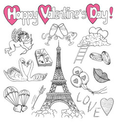 Valentines day set with love doodles vector