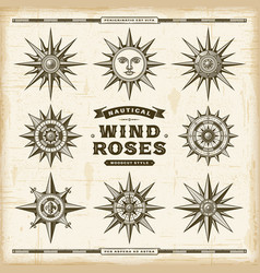 vintage nautical wind roses set vector image