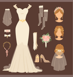 Wedding bride dress accessory celebration vector