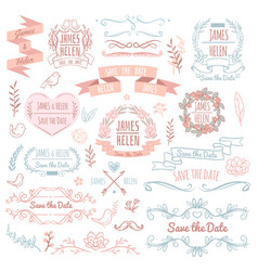 Wedding retro elements for invitation card vector