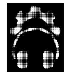 white halftone headphones configuration gear icon vector image