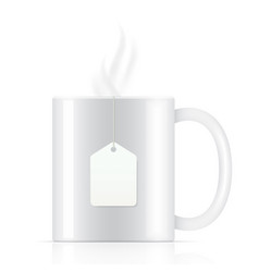 white tea cup with tea bag vector image