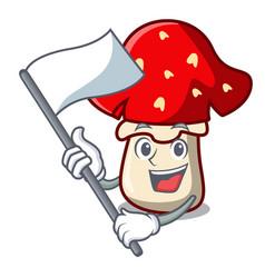 with flag amanita mushroom mascot cartoon vector image