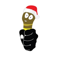 Worm with christmas hat in hand vector