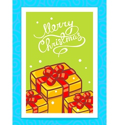 Yellow christmas gifts and hand written t vector