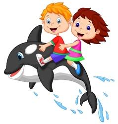 Cartoon Boy and girl riding orca vector image vector image