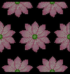 cross stitch lotus seamless pattern vector image vector image