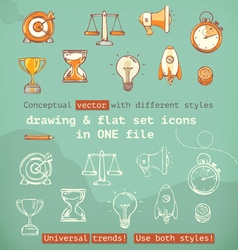 Drawing and flat set icons conceptual with vector image