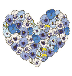 heart of violets flowers isolated on white vector image