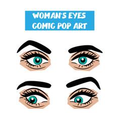 pop art cartoon comic stare woman eyes vector image vector image