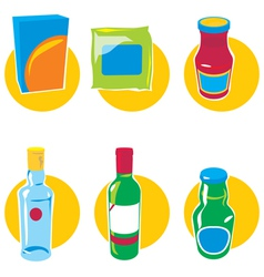 Set of icons with food and drinks vector image vector image