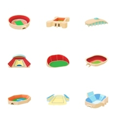 Sports complex icons set cartoon style vector image