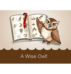 Wise owl and science book vector image vector image