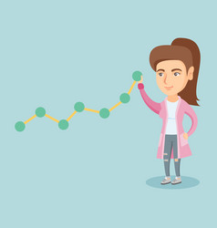 Young business woman pulling up a business chart vector
