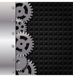 Abstract metal and glass background with frame and vector image