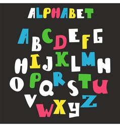 alphabet isolated on black background Hand drawn vector image