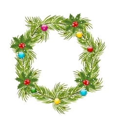 Christmas Wreath with Holly Berries vector image vector image