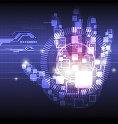 digital hand technology background vector image
