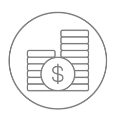 Dollar coins line icon vector image vector image