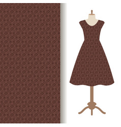 dress fabric with abstract brown pattern vector image vector image