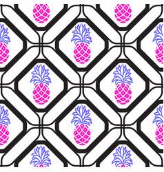pineapples in rhombuses geometric seamless tile vector image vector image