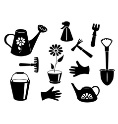 Silhouettes of garden tools vector image vector image