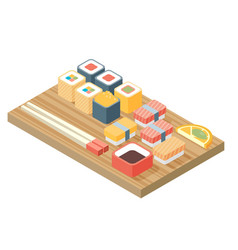 sushi japanese cuisine asia food icon set with vector image vector image