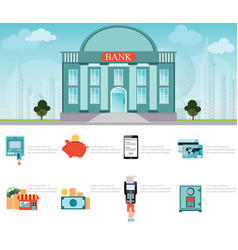 bank building exterior on cityscape vector image vector image