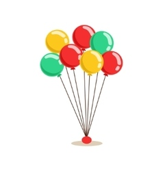 Bunch of flying helium multicolor party balloons vector