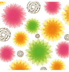 Color bubbles and flowers background icon vector