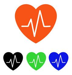heart ekg flat icon vector image