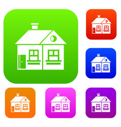 large single-storey house set collection vector image