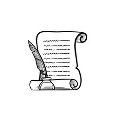manuscript paper with feather pen hand drawn icon vector image vector image