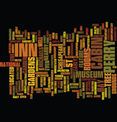 The inn at perry cabin text background word cloud vector