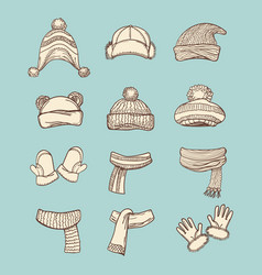 vintage style winter accessories set vector image vector image
