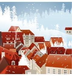 Winter city landscape vector image