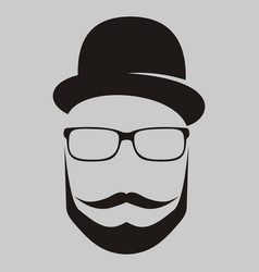 a man in a hat with a mustache glasses and a vector image vector image