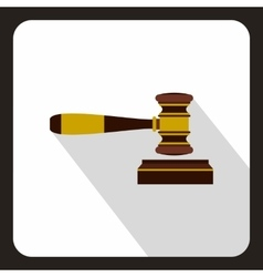 Judge gavel icon flat style vector image vector image