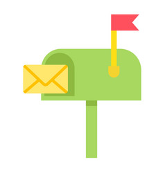 mailbox flat icon letter and website vector image